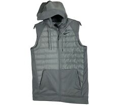 New listing Nike Mens Therma Winterized Full Zip Training Vest Gray Size Small S BV4534-084)