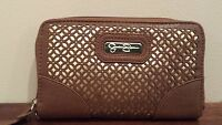 "NEW Jessica Simpson Wallet Clutch Cell Phone ""Leslie"" BROWN & GOLD"