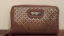 "Jessica Simpson Wallet Clutch Cell Phone ""Leslie"" BROWN &  GOLD NEW"