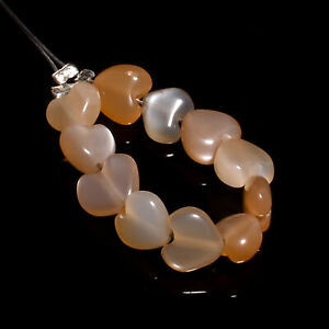 """100% Natural Sunstone Heart Shape Smooth Style Beads 6X6X4 mm Strand 2"""" NW-6279"""