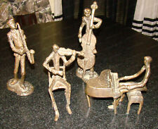 Vintage Saxophone Piano Violin Double Bass Band, Cast Bronze Sculpture's (4pcs)