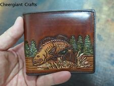 Fishes,tiger & Michael Jackson Hand carved pattern Bifold Wallet躍魚與老虎圖案手工皮雕短皮夾訂製