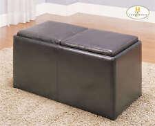 Homelegance Dark Brown Storage Ottoman with 2 Cube Stools   469PU