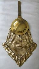 Vintage Art Deco Gold Tone Beveled Mirror Mesh Strap Chain Mail Ruffle Purse W&D