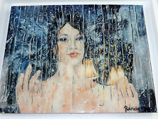 Original Art 'Missing You Already' Acrylic Painting Resin Encased Patricia May