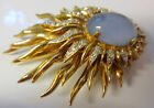 Vintage JOMAZ Moonstone Diamond Paste Gold Plated Starburst Sunburst Pin Brooch