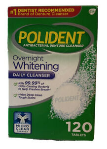 Polident Overnight Whitening Antibacterial Denture Cleanser 120 ct Exp. 07/12/23