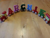 WOODEN LETTERS PERSONALISED NAME TRAIN ALPHABET COLOUR CHILDRENS GIFT