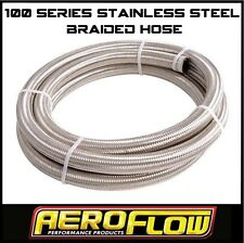 AEROFLOW -6 AN 100 SERIES STAINLESS STEEL BRAIDED HOSE X 1 METER. FUEL OIL WATER