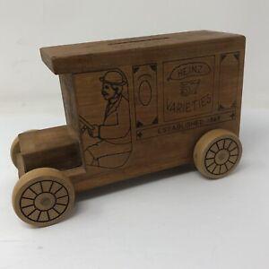 """Vtg 1982 Wood HJ Heinz Pickle Truck Toy Bank Toystolgia Missing Bottom Plug 7.5"""""""