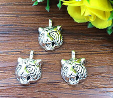 8pcs Tiger Tibetan Silver Bead charms Pendants DIY jewelry 20x14mm