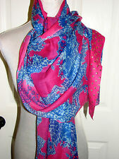 128.00 NWT LILLY PULITZER BOHO SCARF NWT POP PINK ON THE SQUARE CASHMERE/WOOL