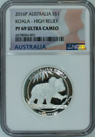 2016 P Australian Koala High Relief 1 OZ Silver NGC Proof 69 Ultra Cameo / Fresh