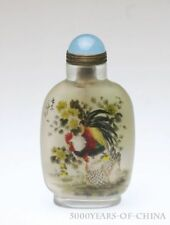 """3.74"""" Old Handmade Painted """"Cock"""" Inside Painted Glass Snuff Bottle"""