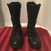 Gianni Bini Biker, Rugged, Unique Genuine Leather Black Ladies Size 6 1/2 Boots.