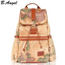 Women Drawstring Backpack Vintage World Map  Print Brown Faux Leather