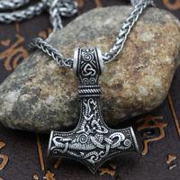 Bulk! 5PC  Men's Norse Viking Thor Hammer Mjolnir Amulet Pendant Necklace
