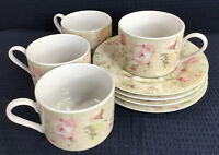 Cheri Blum For 222 Fifth Savannah Set Of 4 Cups And Saucers Beige Pink Roses