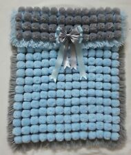 BABY BLUE AND GREY POM POM TURNOVER BABY BOY GIRL BLANKET WITH REMOVABLE BOWS