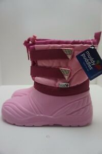 MUDDY PUDDLES THERMAL WINTER SNOW BOOTS PINK SIZE UK KIDS  7 8 8.5 9 13 1 2 3