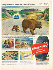 Vintage 1954 Magazine Ad Atlas Tires Batteries Accessories / Pream For Coffee
