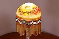 """Glass Fringe Antique REPRO Hand Painted Hummingbird Bird Floral Lamp 6"""" Shade"""
