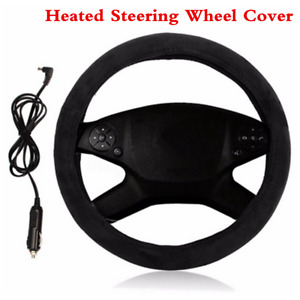 12V Black 15in Car Heated Steering Wheel Cover Warm Winter Universal For 38cm
