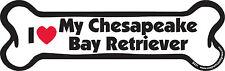 "Dog Magnetic Car Decal - Bone Shaped - I Love My Chesapeake Bay Retriever - 7"""