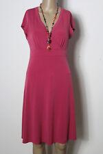 ESPRIT Kleid Gr. S fuchsia-lila knielang Kurzarm Empire Slinky Strech Kleid