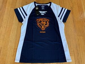 Chicago Bears NFL Jersey Bling Top Shirt Majestic Blue Orange- Women's Large