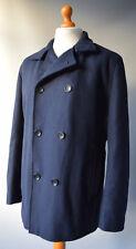 Mens Blue Ben Sherman Wool Blend Peacoat / Jacket Size L, Large.
