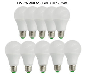 10pcs E27 5W A19/A60 LED Light Globe Bulb Lamp 12-24V Lights 60W Equivalent #T