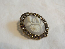 """Beautiful Brooch Pin Flower Cameo Gold Tone White Frosted Cab 1 3/4 x 1 1/2"""""""