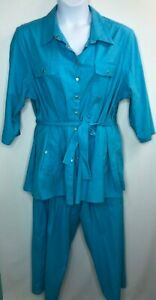 Dialogue Womens Blue Linen/Rayon Safari Shirt & Crop Pants Size 24W QVC A70354