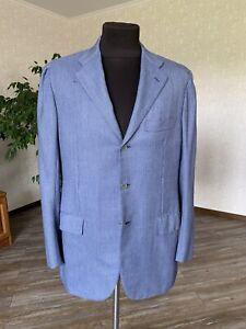 KITON Mens Blazer Jacket Three Button 100% Cashmere Blue Size 52 XL