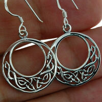 Celtic Knot Round Silver Earrings, Plain Solid Silver, Irish Jewelry, ep207