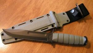 KA5011 Ka-Bar Fighting Knife Green 1095 Carbon Blade GFN Handle Nylon Sheath USA