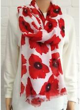 Alexander Thurlow Large White and Red Poppy Flower Scarf Twilled Polyester Scarf