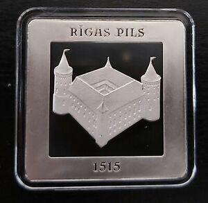 LATVIA – RECTANGULAR SILVER PROOF 5 EURO COIN 2015 500th RIGA CASTLE BOX COA