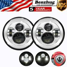 Pair 7 Inch Round Led Headlight Hi/Lo Projector Chrome 300W For JEEP Wrangler JK