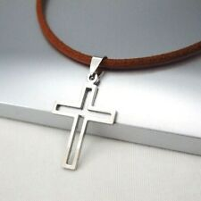 Silver Gothic Celtic Hollow Cross Pendant Womens Mens 3mm Brown Leather Necklace