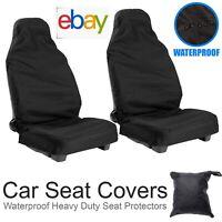 2X Universal Front Car/Van Seat Covers Protectors Black Waterproof Heavy Duty