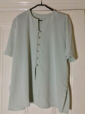 sz 20 sage green blouse/tunic pearl buttons loop fastening  s/leeve side splits