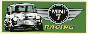 MINI 7 RACING (LARGE ) Tribute Retro Sticker