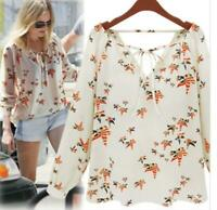 Women Summer Casual Tops Long Sleeve Blouse Ladies Loose Chiffon Floral T-Shirts