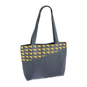 Slate Linen Bag Tote / Shoulder Bag Zip Closure - Fair Trade BNWT