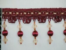 "4"" Beaded Tassel Fringe Trim Gold Coral Brown Burgundy Green Sold By Yard"