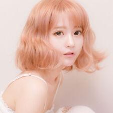 Yurisa Fluffy Pink gold Short Full Wig Wavy Hair Harajuku Lolita Cosplay Party