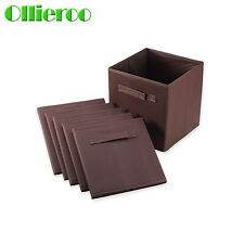 6pcs Home Storage Bins Organizer Fabric Cube Boxes Shelf Basket Drawer Container