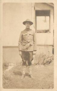 VINTAGE WWI REAL PHOTO of SOLDIER, MAYBE BRITISH SOLDIER, NO WRITING, FADED